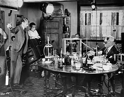 Dir. James Whale on the set of The Invisible Man with actor Claude Rains. Courtesy of the Wikimedia Foundation.