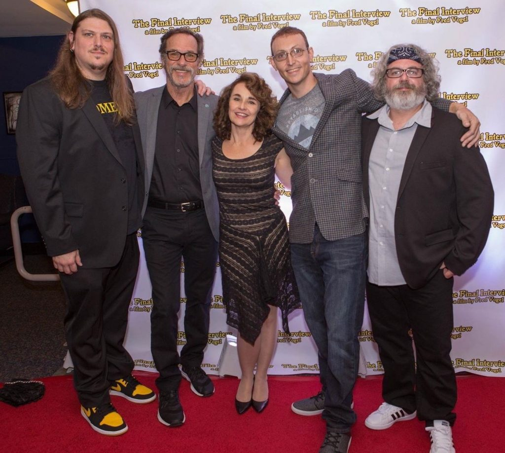 The cast from The Final Interview. From left to right: Fred Vogel, Grainger Hines, Diane Franklin, Damian Maruscak, and film composer, Paul Joyce.  August in October: An Interview with Fred Vogel of TOETAG Pictures