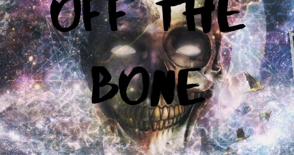 Off the Bone - a HauntedMTL podcast original series. With a skull dressed in a suit and a galaxy for a background.