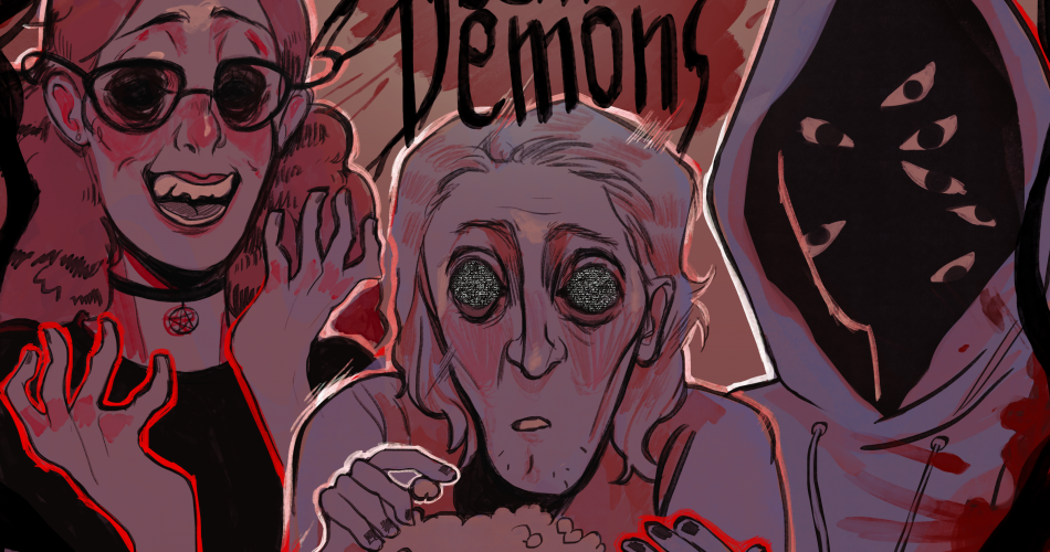 Three demonic looking people are grouped around each other watching tv and eating popcorn. the words Streamin' Demons appears as the title.