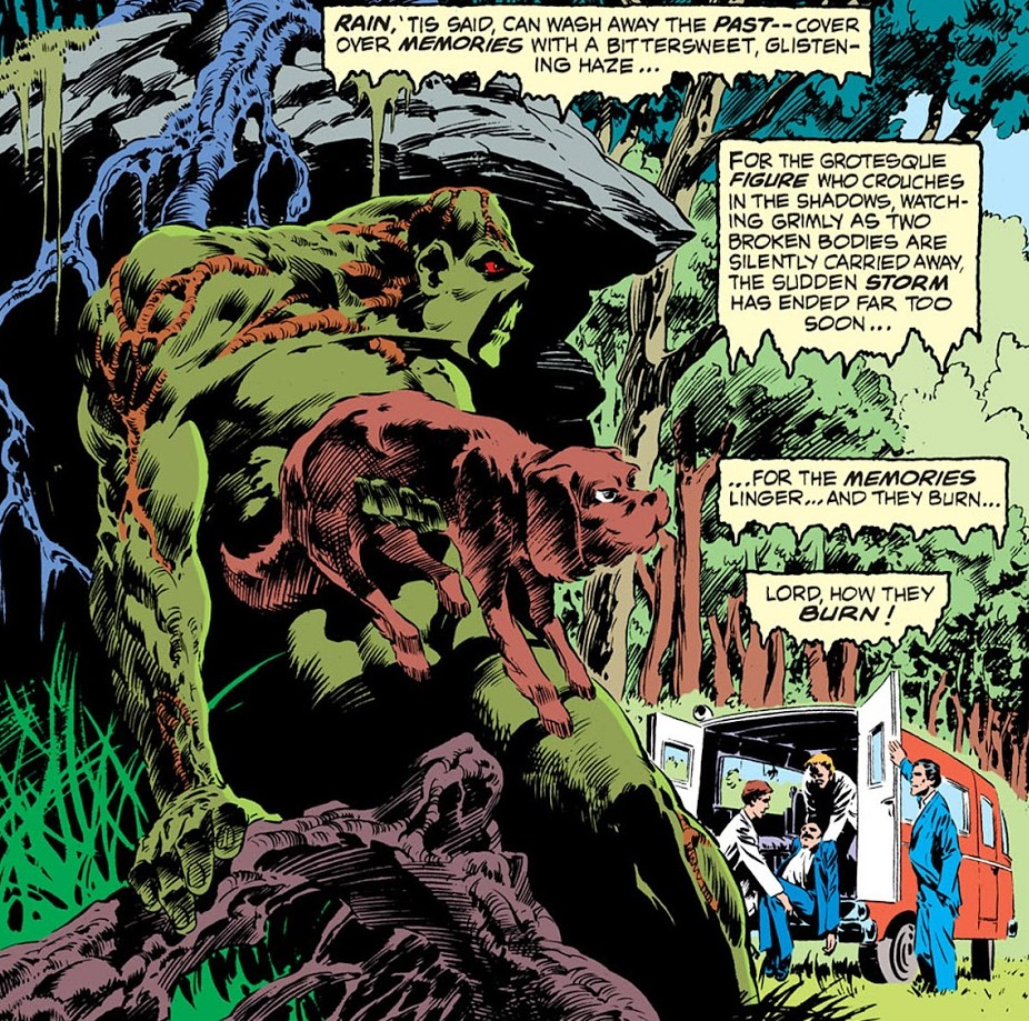 Swamp Thing hiding behind a rock with mutt, Swamp Thing #2, 1973