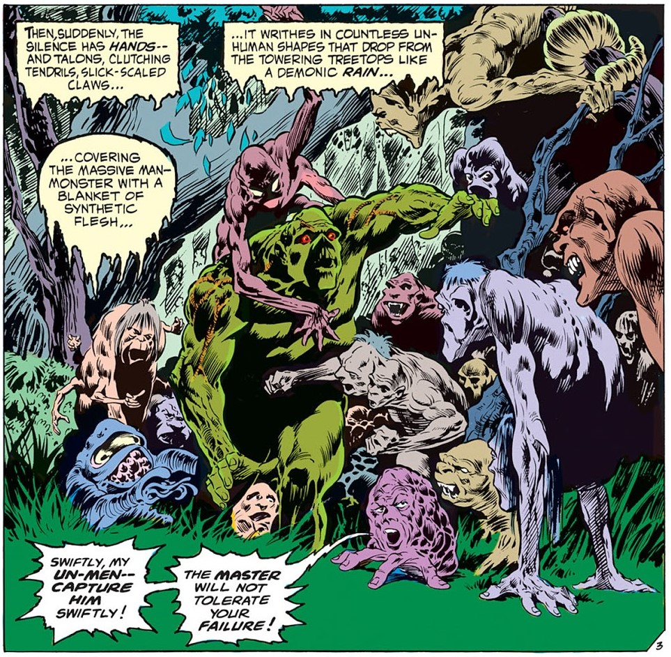 Swamp Thing beset by Un-Men, Swamp Thing #2, 1973