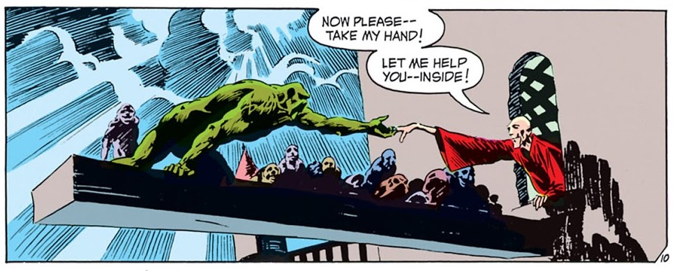 Swamp Thing being aided by Anton Arcane, Swamp Thing #2, 1973
