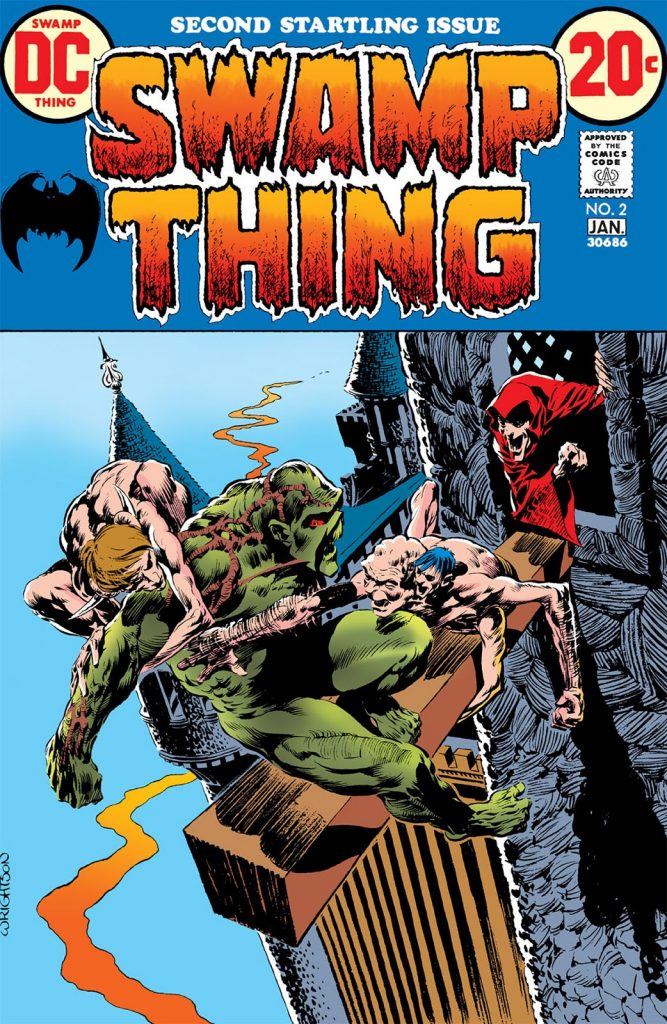 Swamp Thing battling Un-Men on the cover of Swamp Thing #2, 1973