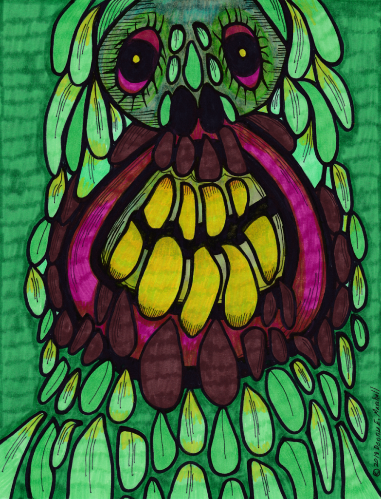Green plant that looks like a troll. The eyes are a bright magenta, which goes along with the gum lines of the horrific mouth.