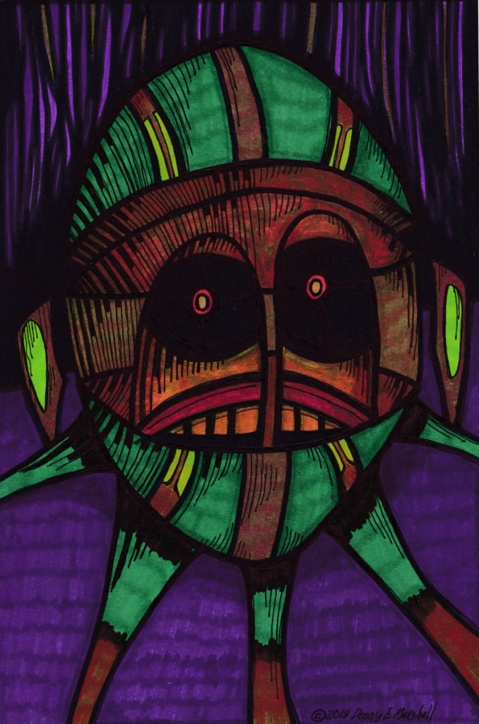A voodoo head looking plant pod on a purple canvas. The head is multicoloured with large dark eyes and red lenses. A fierce warrior.