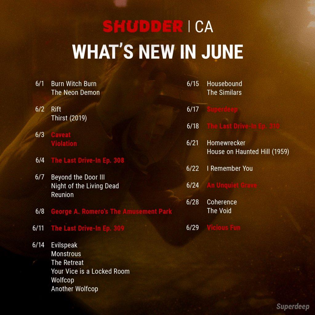 Shudder CA June release list