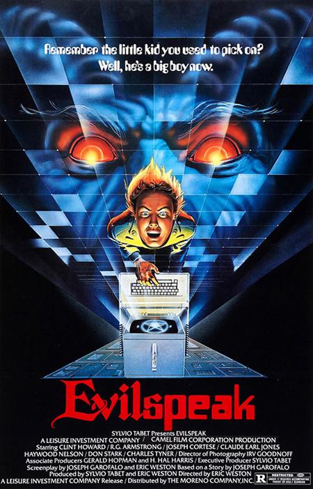 The poster for the movie Evilspeak (1981)