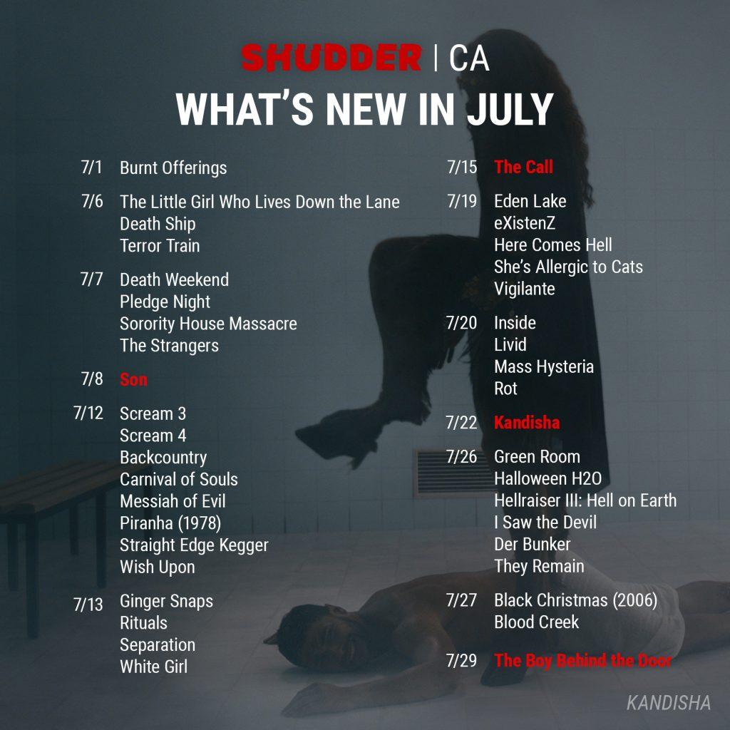 Shudder CA July 2021 Release Schedule