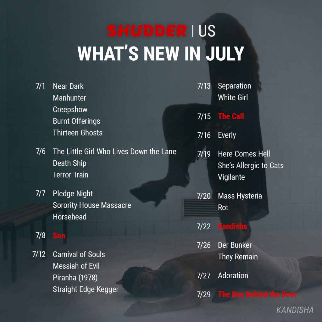 Shudder US July 2021 Release Schedule