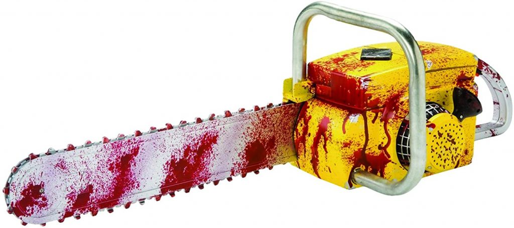 picture of a bloody prop chainsaw
