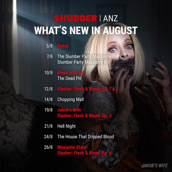 Shudder ANZ Schedule August 2021