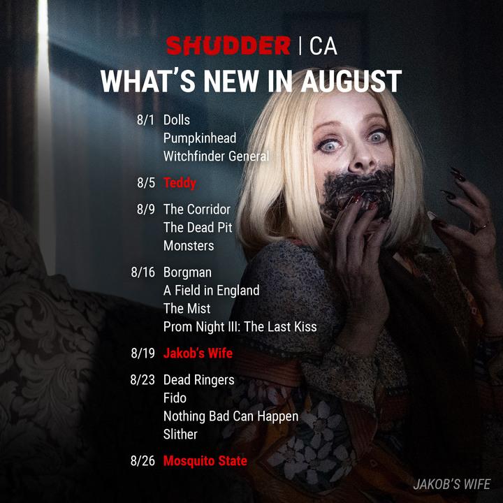 Shudder CA Schedule August 2021