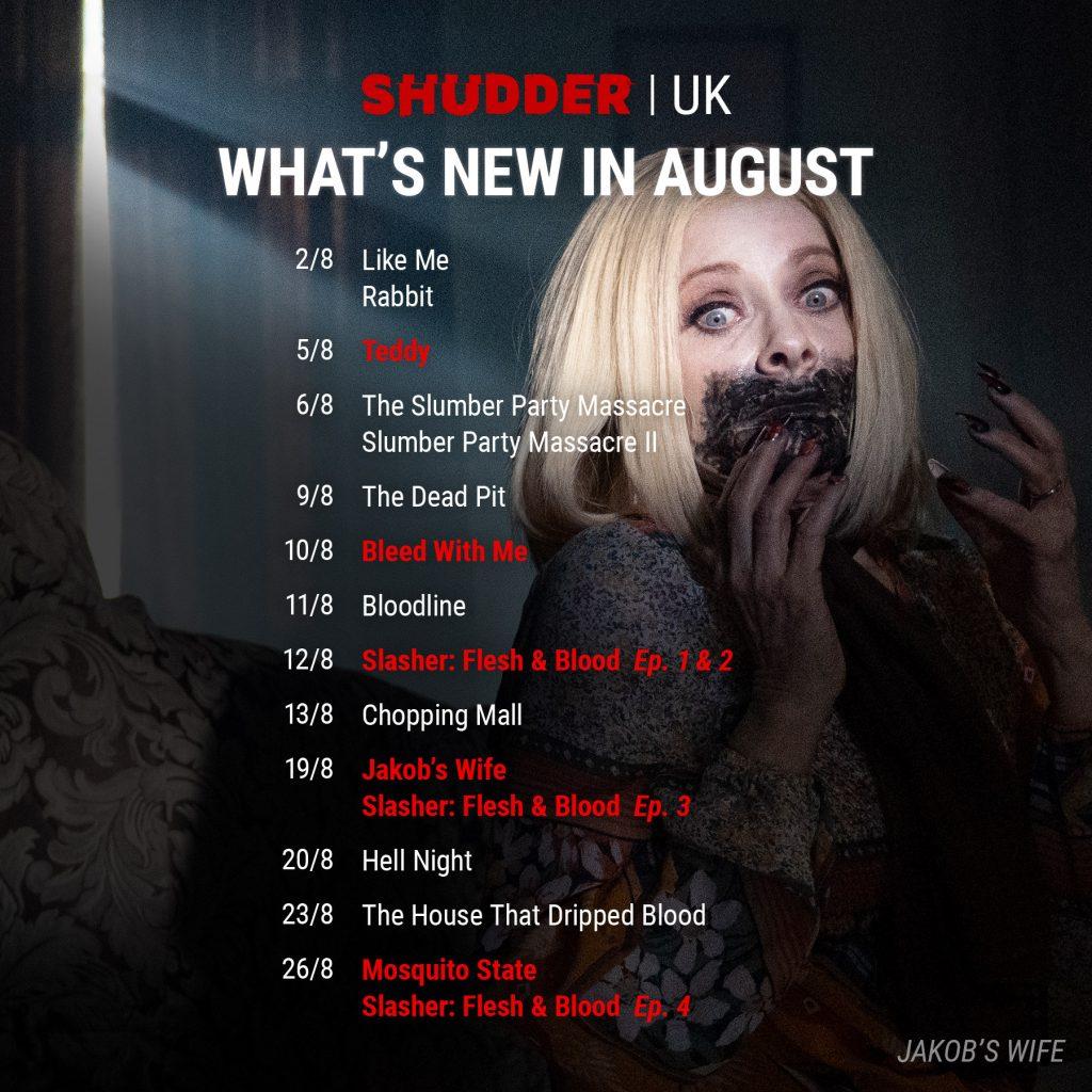 Shudder UK Schedule August 2021