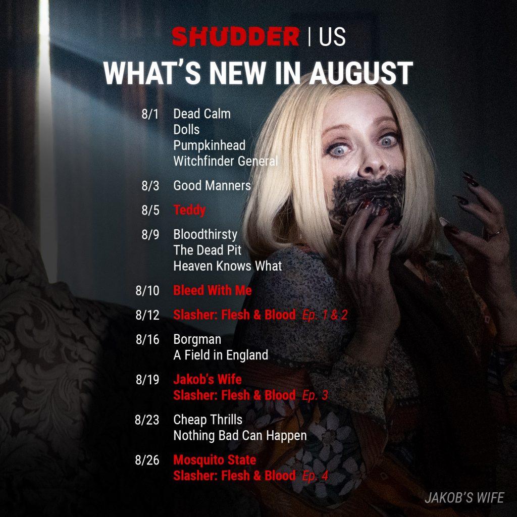 Shudder US Schedule August 2021
