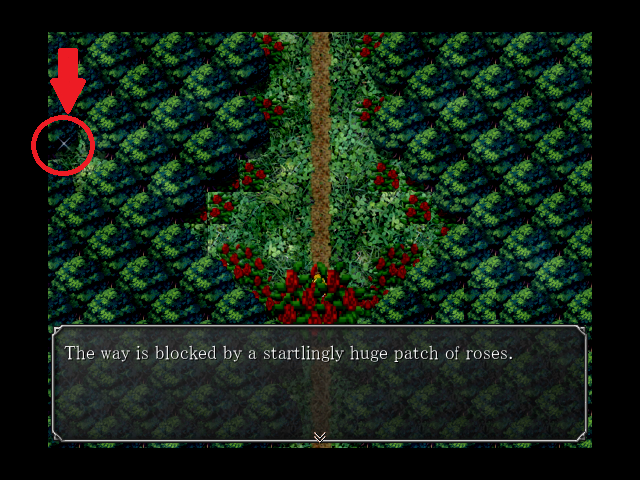 The Witch's House Roses block a forest path and sparklies are visible in the upper corner