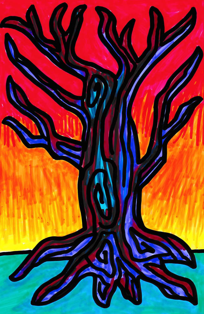 vibrant marker drawing of dead tree with thick bold lines