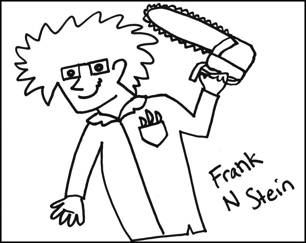 pen drawing of Frank N Stein