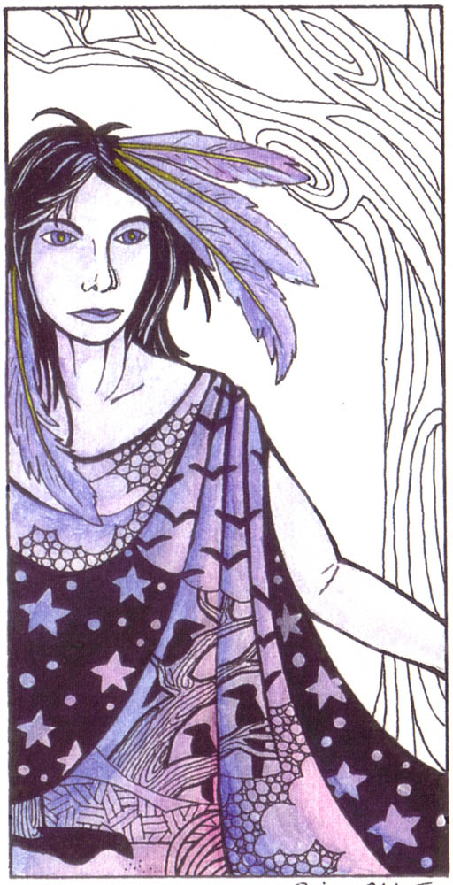 pen and watercolor drawing of a raven shapeshifter with feathers in her hair and dwelling deep in the woods
