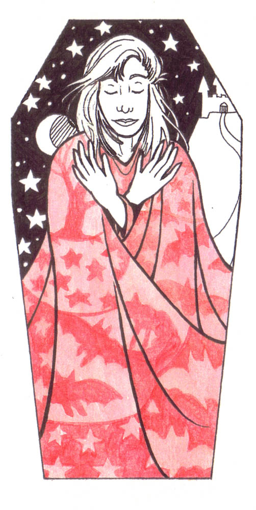 pen and watercolor drawing of a vampire sleeping in her casket with blood stained bats, cloaked in night with a castle in the distance