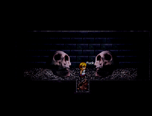 the witch's house Two skulls come down a too narrow to escape hallway