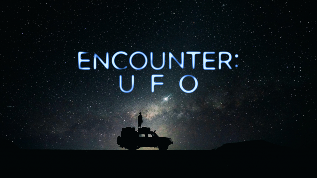 Encounter UFO photo of a man on top of a truck with the infinite night sky as a backdrop...