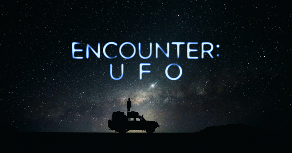 Encounter UFO on T+E - a picture of a dune buggy with the backdrop of an infinite night sky