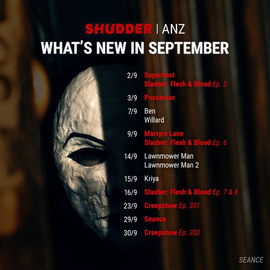 Shudder ANZ September 2021 Schedule
