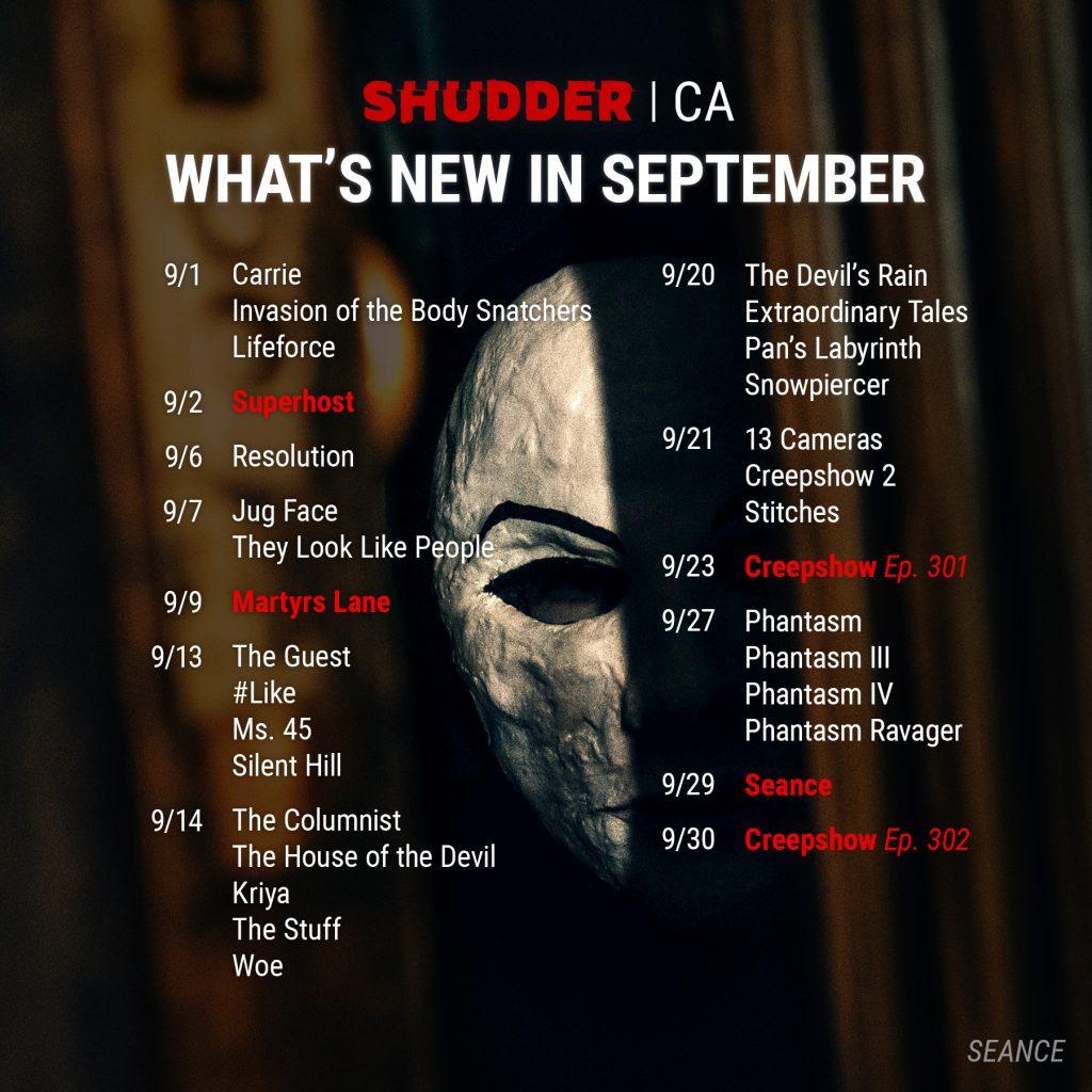 Shudder CA September 2021 Schedule