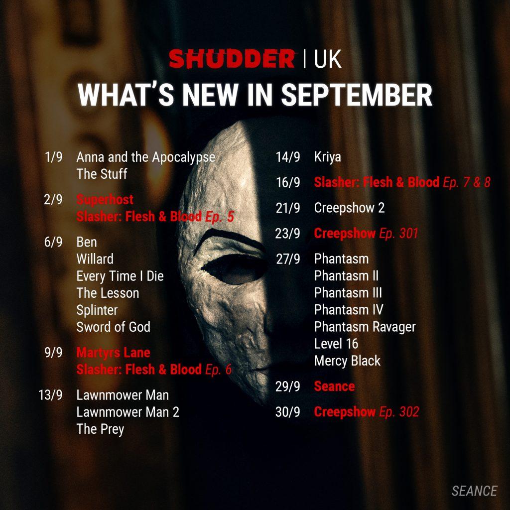 Shudder UK September 2021 Schedule