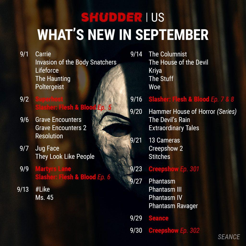 Shudder US September 2021 Schedule