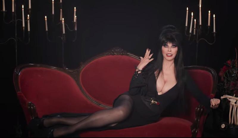 Elvira screencap from 40th anniversary promo for Shudder