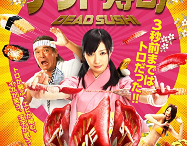 a sushi chef using sushi numchucks to protect another chef and a bikini girl from dead sushi that kills
