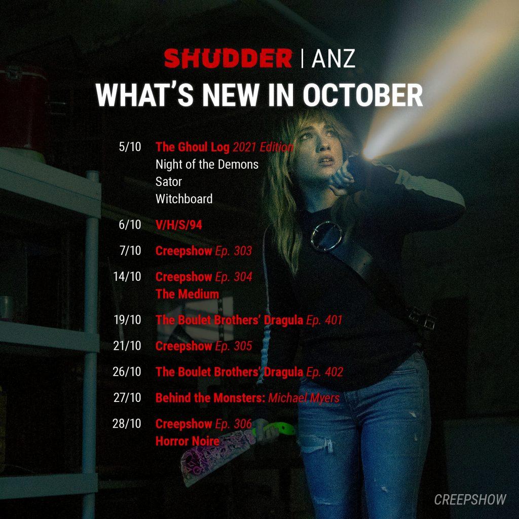 Shudder October 2021 Schedule for ANZ