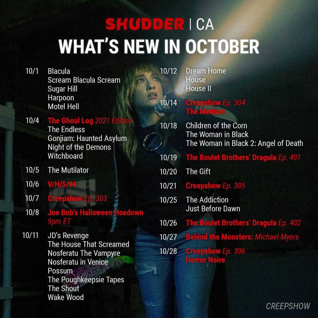 Shudder October 2021 Schedule for Canada