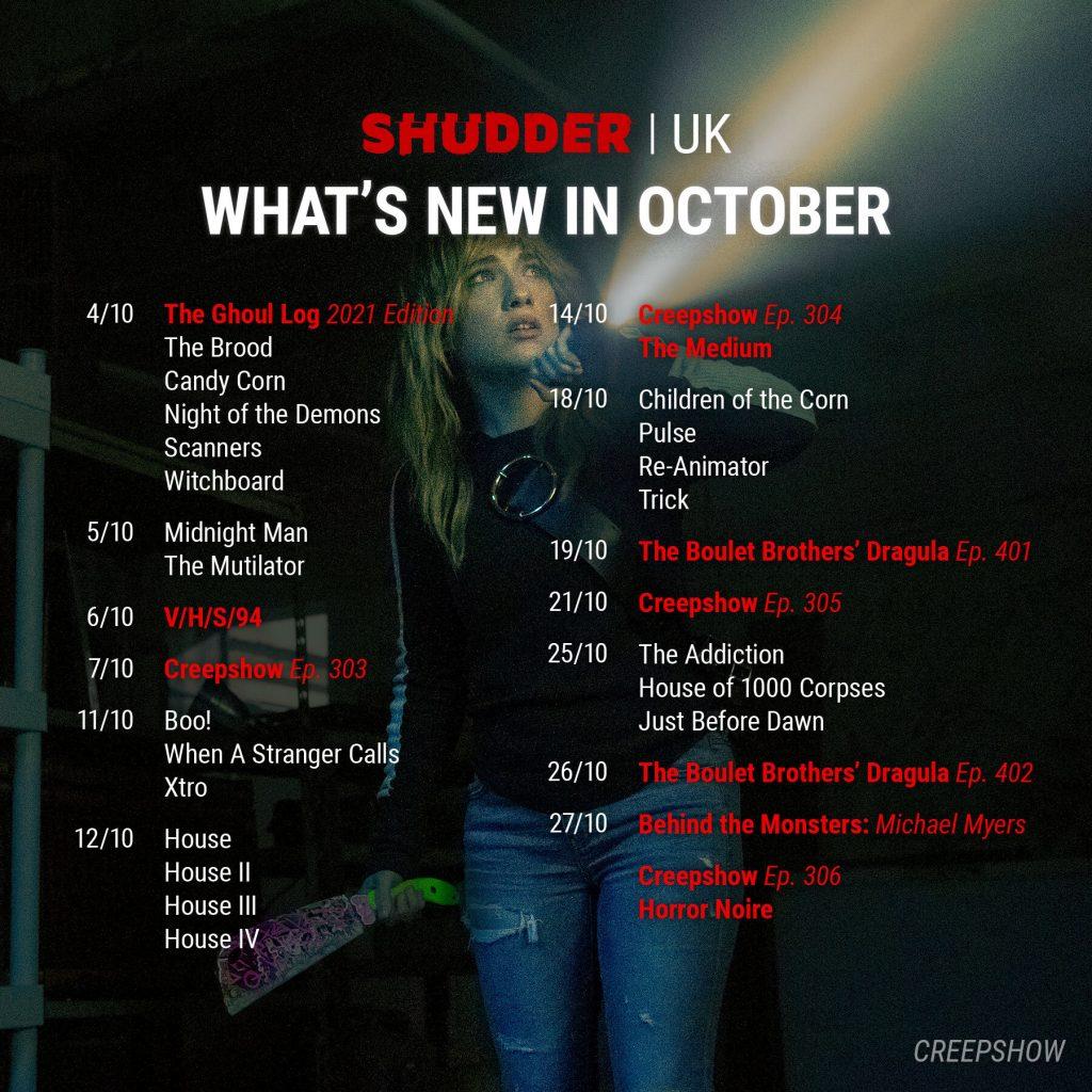 Shudder October 2021 Schedule for UKI
