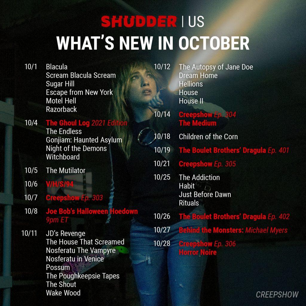 Shudder October 2021 Schedule for USA