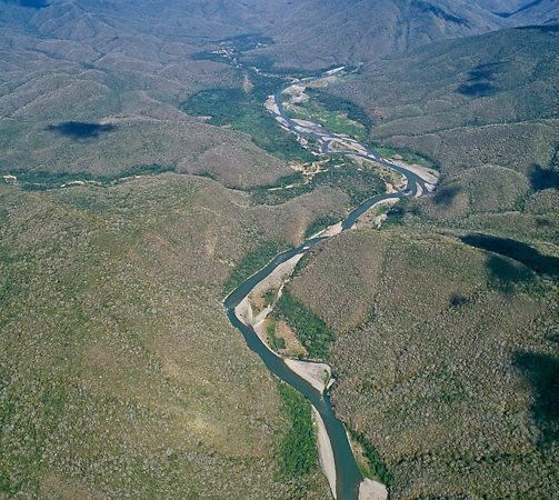 An aerial view of a green river