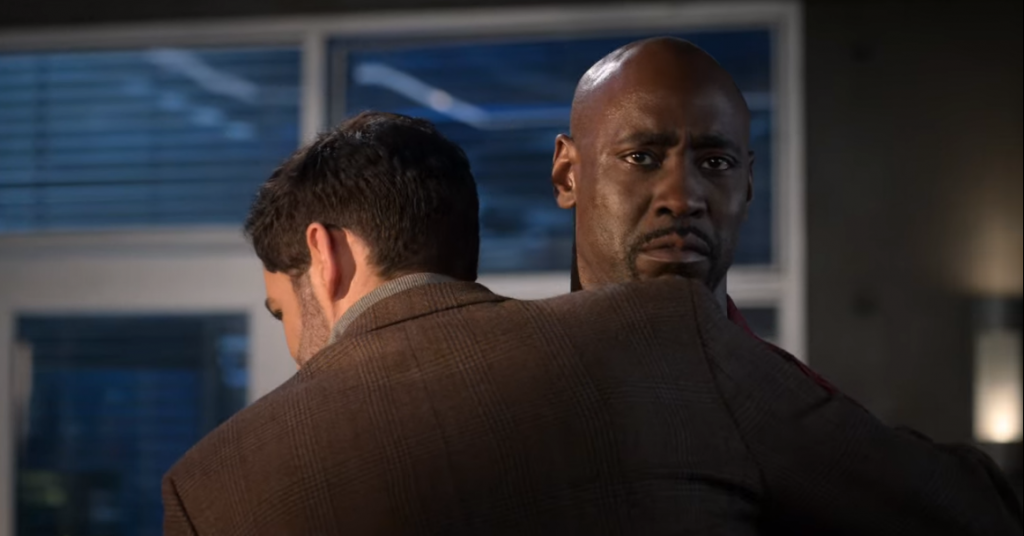 Ditz: Michael hugs Amenadiel. Amensdiel has a 'Bitch, you're lucky Ditz dad is standing right there stopping me from kicking your ass' look on his face