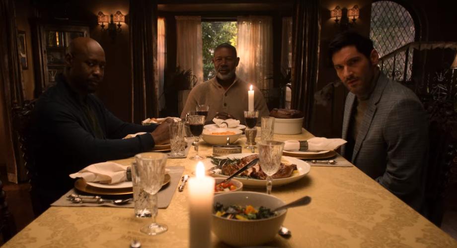 linda and amenadiel's family eat dinner