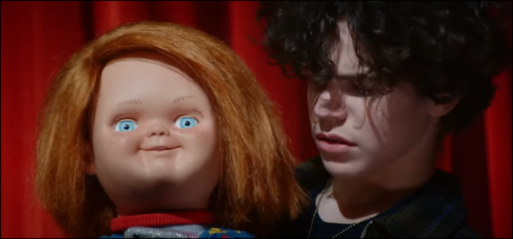 """Chucky S1 E1 - """"Death By Misadventure"""" screencap depicting Chucky and Jake"""