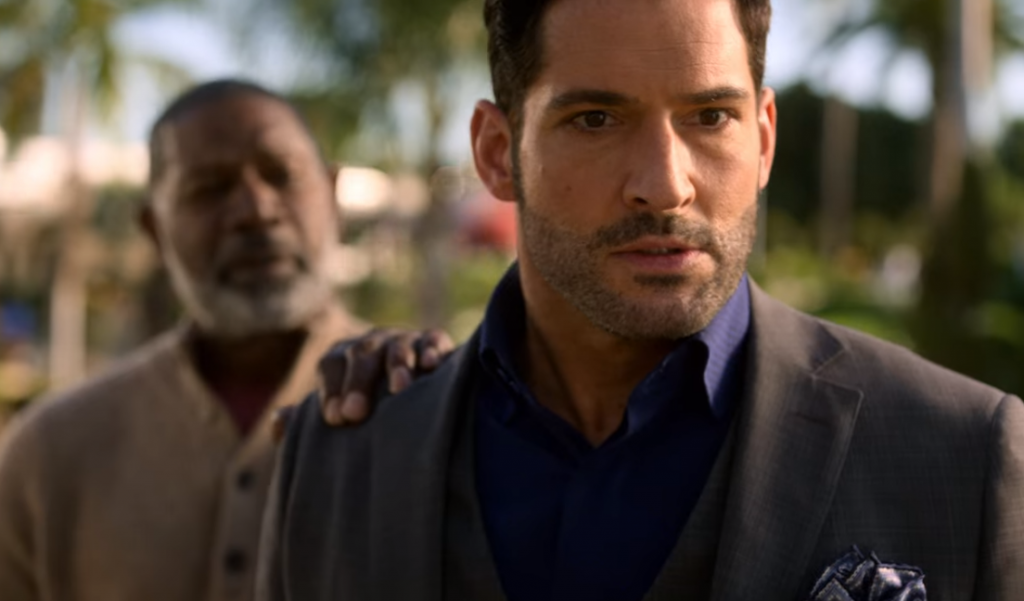 Lucifer looks like he farted at a dinner party as Ditz God has his hand on his shoulder.   I thought it was funny